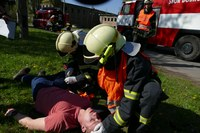 Cvičení hasičů se tentokrát konalo v areálu dolu Heřmanice.